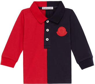 Moncler Two-Tone Long-Sleeve Polo Shirt, Size 12M-3