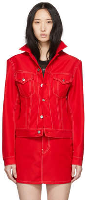 Helmut Lang Red Denim Femme Trucker Jacket