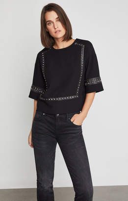 BCBGMAXAZRIA Faux Leather-Trimmed Studded Blouse