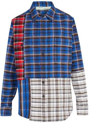Off-White Patchwork checked cotton-blend shirt