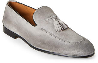 Doucal's Grey Tasseled Suede Loafers