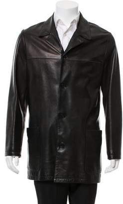 Hermes Leather Notch-Lapel Jacket