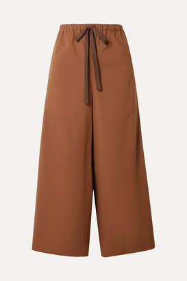 Theory Cropped Stretch-cotton Poplin Wide-leg Pants - Brown