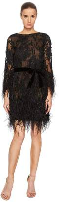 Marchesa Long Sleeve Lace Tunic w/ Ao Beaded Embellishment and Feather Embroidery Women's Dress