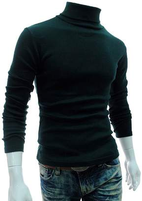 LovingIn Mens Casual Basic Knitted Turtleneck Slim Fit Pullover Thermal Sweaters, M