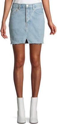 Vetements Two-Tone Straight Denim Mini Skirt w/ Released Hem