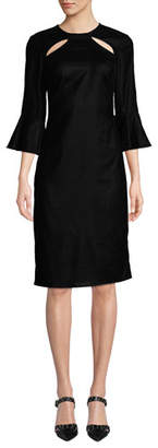 Shoshanna Bellaire Cutout Trumpet-Sleeve Dress
