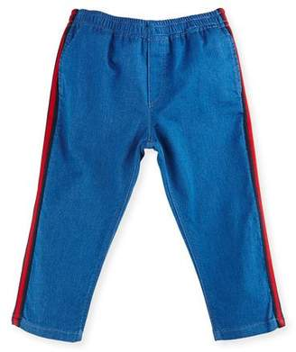 Gucci Felted Jersey Denim Track Pants, Blue/Green, Size 9-36 Months