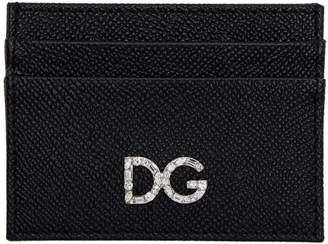 Dolce & Gabbana Black Crystal Logo Card Holder