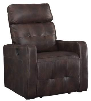 AC Pacific Elsa Collection Contemporary Leather Tufted Upholstered Living Room Electric Recliner Power Chair, Brown