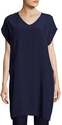 Eileen Fisher Short Sleeve Crinkle Crepe Tunic, Plus Size $298 thestylecure.com