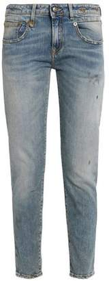R 13 Distressed Faded Low-Rise Slim-Leg Jeans