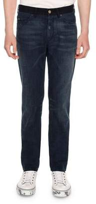 Lanvin Contrast Waistband Skinny 5 Pocket Jeans, Blue