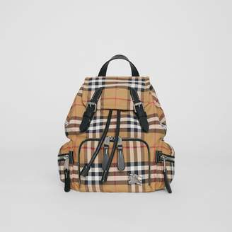 Burberry The Small Crossbody Rucksack in Vintage Check, Yellow