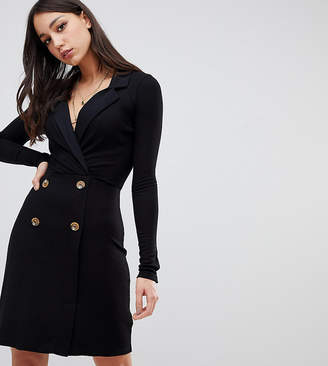 Asos Tall DESIGN Tall mini rib double breasted blazer dress with faux horn buttons
