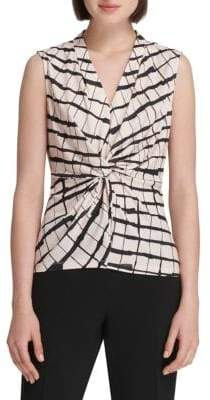 Donna Karan Printed Knotted Blouse