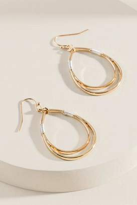 francesca's Flora Wire Wrapped Teardrop Earrings - Mixed Plating