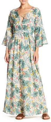 Lucca Couture V-Neck Long Sleeve Tropical Print Dress