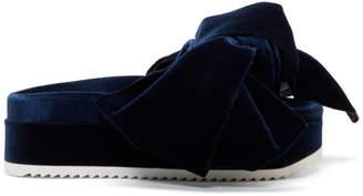 Joshua Sanders Navy Velvet Bow Platform Sandals