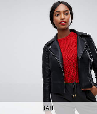 Noisy May Tall faux leather biker jacket