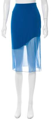 Prabal Gurung Sheer-Paneled Knee-Length Skirt