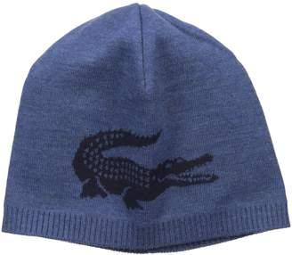 Lacoste Men's Jacquard Crocodile Wool Beanie, Anchor Chine/Blue Pigment