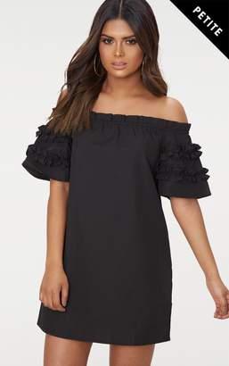 PrettyLittleThing Petite Black Ruffle Sleeve Bardot Shift Dress
