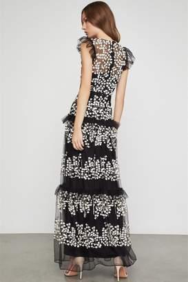 BCBGMAXAZRIA Floral Vine Applique Gown