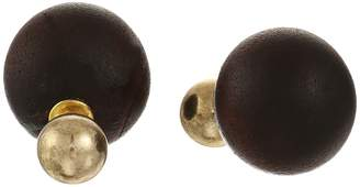 Kenneth Jay Lane 8mm Polished Gold Front/14mm Wood Back Post Earrings Earring