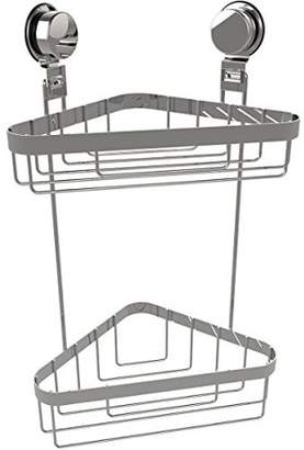 Wall Mounted Two Tier Corner Shower Caddy Shower Storage Rack for Bathroom Organizing with Stainless Steel Twist Lock Suction Cups by Lavish Home
