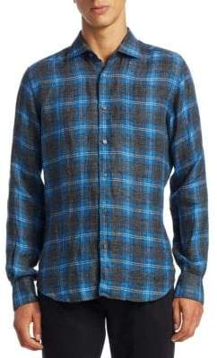 Saks Fifth Avenue MODERN Brushed Linen Flannel Button-Down Shirt