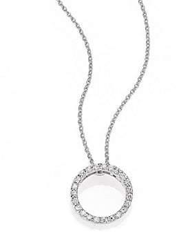 Roberto Coin Women's Tiny Treasures 0.11 TCW Diamond & 18K White Gold Petite Circle Pendant Necklace