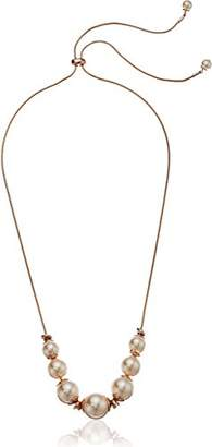 Kenneth Cole New York Womens Rose Gold Knot and Tone Pearl Frontal Necklace