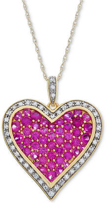 Macy's Lab-Created Ruby (2-1/5 ct. t.w.) & White Sapphire (1/5 ct. t.w.) Pavé Heart Pendant Necklace in 14k Gold Plated over Sterling Silver