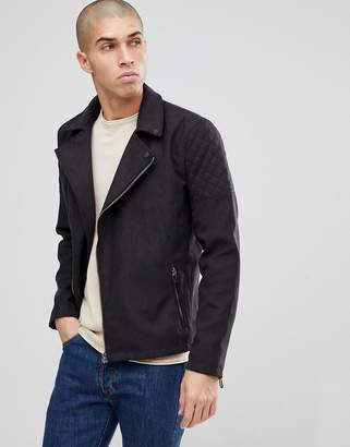 ONLY & SONS Faux Suede Biker Jacket