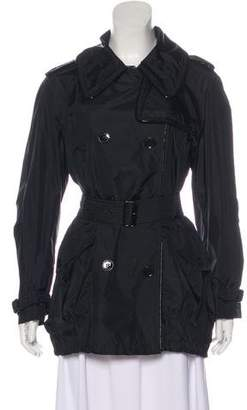 Burberry Leather-Trimmed Short Coat