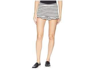 BB Dakota Comfy Queen Striped High-Waisted Ruffle Shorts