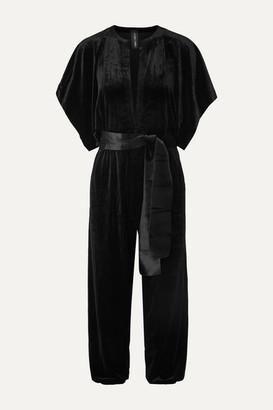 Norma Kamali Cropped Stretch-velvet Jumpsuit - Black