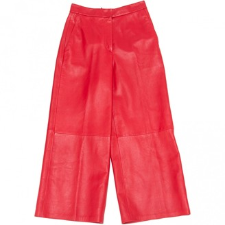 Barbara Bui Red Leather Trousers for Women