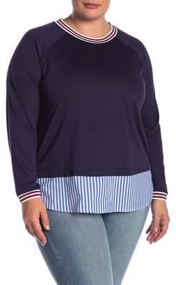 Como Vintage Athletic Stripe Twofer Blouse (Plus Size)