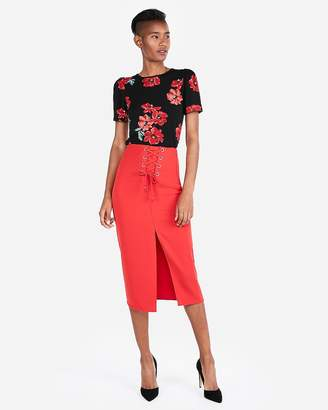 Express Petite Floral Crew Neck Puff Sleeve Top