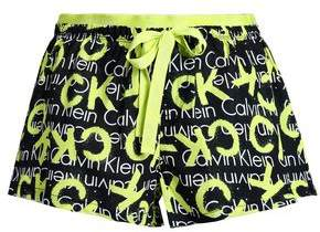 Calvin Klein Neon-Trimmed Printed Cotton-Poplin Pajama Shorts
