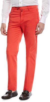 Kiton Slim-Straight Flat-Front Chino Pants