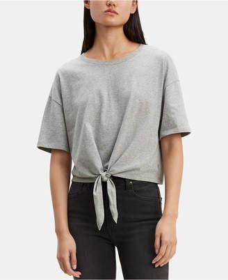 Levi's Striped Tie-Front Cotton T-Shirt