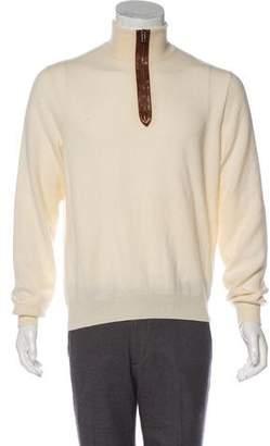 Ralph Lauren Purple Label Leather-Trimmed Cashmere Sweater