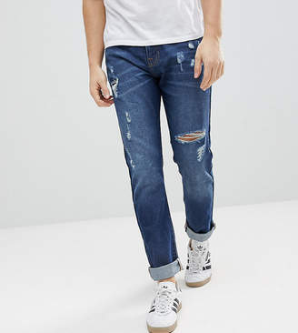 Brooklyn Supply Co. Brooklyn Supply Co Tapered Jeans With Thigh Rip In 90's Blue