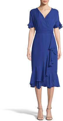 Label by 5Twelve Faux-Wrap Ruffle Midi Dress