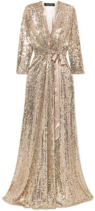 Jenny Packham Satin-trimmed Sequined Silk Wrap Gown - Gold