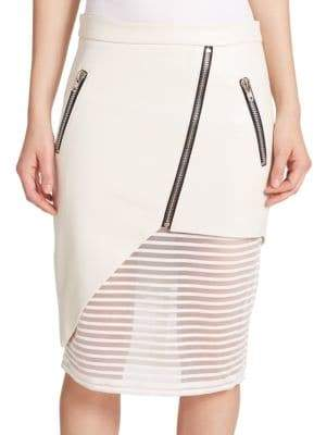 Mason by Michelle Mason Leather Sheer-Detail Zip Pencil Skirt