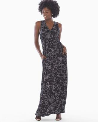 Soft Jersey V Neck Maxi Bra Dress Dappled Sketch Black
